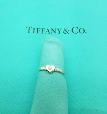 Tiffany & Co Paloma Picasso Sterling Silver Diamond Heart Band Ring Size H 1/2 • 237.99£