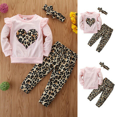 Toddler Baby Girl Leopard Print Ruffle Tops Pants Headband Outfits Clothes Set • 6.99£
