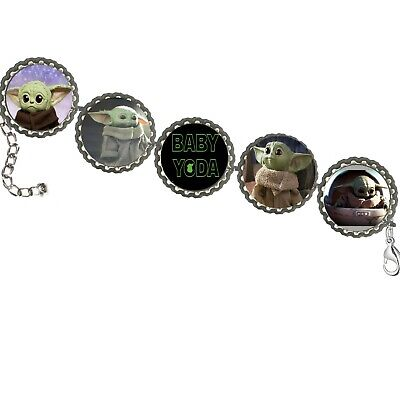 $10.99 • Buy Baby Yoda Star Wars BOTTLECAP BRACELET  Handcraft Nice Must Have Gift Unisex