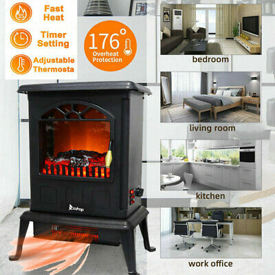 $60.13 • Buy 1500W Portable Electric Fireplace Space Heater Log Flame Stove Free Standing NEW