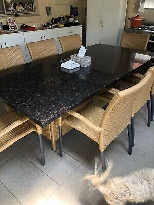 AU1200 • Buy 8 Seater Wicker Outdoor Setting With Stone Table Top