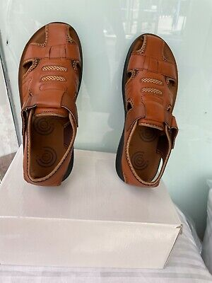 Mens Sandals Leather Walking Touch Strap Summer Beach Mules Gladiator Shoes 6-11 • 14.90£