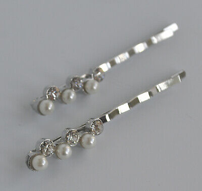 2 X Ivory Pearl & Crystal/diamante Row Hair Grips/slides. Bridal/wedding/party  • 3.15£