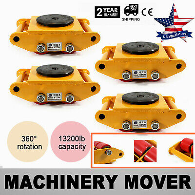 $224 • Buy 4Pcs Heavy Duty Machine Dolly Skate Machinery Roller Mover Cargo Trolley 6 Ton