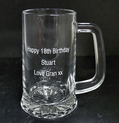 Personalised Engraved Glass Tankard 18th 21st 30th Birthday Free Gift Box RH • 10.95£