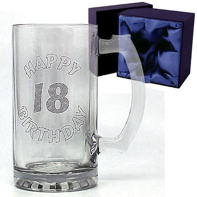 18th Birthday Gift Celebration Top Quality Glass Tankard In Satin Lined Gift Box • 13.99£