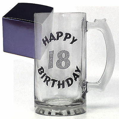 Happy 18th Birthday Top Quality Glass Celebration Tankard Boxed • 12.99£