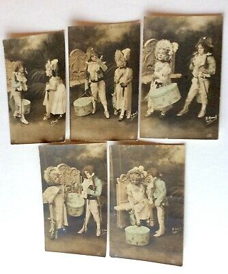 Lot Of 5  French Vintage Postcards 1903 Boy And Girl In Costumes  • 15.90£