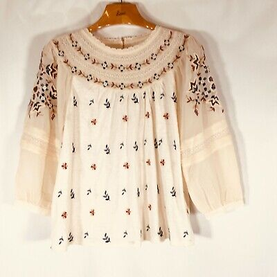 $ CDN91.93 • Buy NWT Anthropologie Blouse Sheer Sleeve Embroidered Beaded New $118 Retail Small