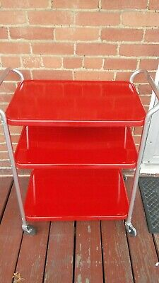 $99.99 • Buy Vintage Mid Century 3 Tier Cosco Serving Utility Cart Cherry Red Color