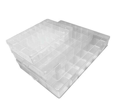Storage Box Hard Plastic Adjustable Compartment Slot Plastic Craft Organizer • 7.99£