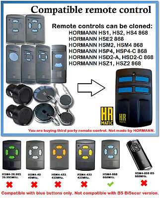 £17.58 • Buy Remote Control Duplicator Compatible With Hormann/Garador 868MHz. (Blue Buttons)