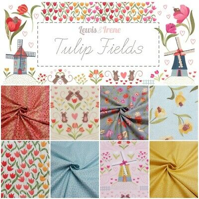 Lewis & Irene Tulip Fields Spring Floral + Mice 100% Cotton Patchwork Fabric • 3.65£