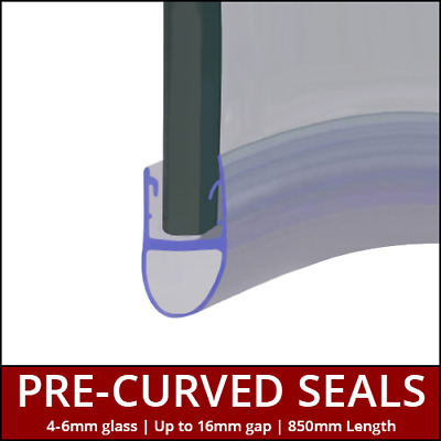 £17.99 • Buy Pre Curved Shower Seals | For Screens, Doors Or P Shaped Baths | 4 To 6mm Glass