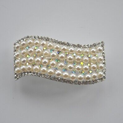 Rectangle Wave Ivory Pearl & AB Crystal/diamante Hair Clip/barrette/accessories • 8.95£