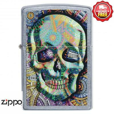 AU49 • Buy Zippo Street Chrome Coloured Skull Lighter