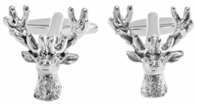 Zennor Mens Stag Head Cufflinks - Silver • 22.50£