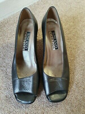 Womens Size 6 Roland Cartier Shoes Pewter Peep Toe Heels • 8.99£