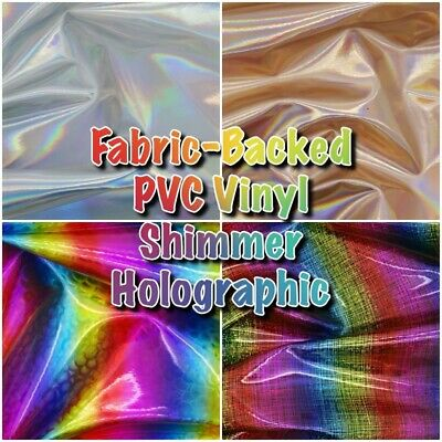 Fabric-Backed Shimmer Holographic Vinyl Handbag Craft Fabric SHEETS OR STRIPS • 1.29£