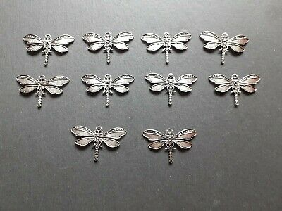 £6.35 • Buy 10 X Antique Silver Plated Dragonfly Pendants Trays Bezels Jewellery Findings