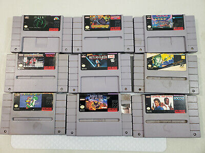 $ CDN125 • Buy Lot 9 SNES Games - Super Ghouls 'n Ghosts, Return Of The Jedi, Super Mario World