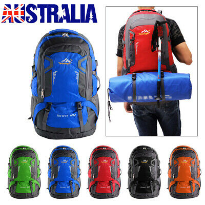 AU26.99 • Buy 60L Waterproof Outdoor Backpack Athletic Sport Hiking Travel Rucksack Bag AU