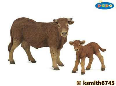 £12.25 • Buy Papo LIMOUSIN COW & CALF Solid Plastic Toy Farm Pet Brown Animal NEW 💥