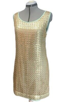 $ CDN79 • Buy $178 Tabitha Anthropologie Golden Panes Dress Shift Retro Gold Sequins 6 S Small