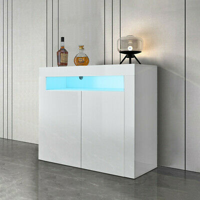 £89.99 • Buy 2 Doors White Sideboard Cabinet High Gloss Cupboard Storage Furniture With LED