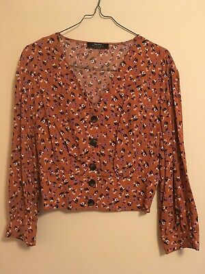 AU25 • Buy Bershka Floral Brown Button Up Top Size S