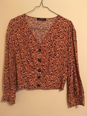 AU22 • Buy Bershka Floral Brown Button Up Top Size S