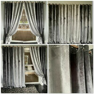 Plush Velvet Curtains Eyelet Ring Top Thick Ready Made Lined 2 TONE Silver Grey • 39.99£