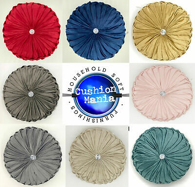 Cushion Soft PLUSH Velvet Cushions Luxury Chic Filled Scatter Cushion Round • 10.99£