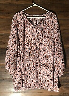 $ CDN35.19 • Buy Anthropologie Violet + Claire Colorful Pink Print Boho Blouse Women's Size 3XL