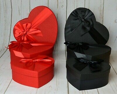Small Heart Shape Florist Hat Boxes Black Red Pink Lilac X 3 Flowers Gifts Vase • 11.49£