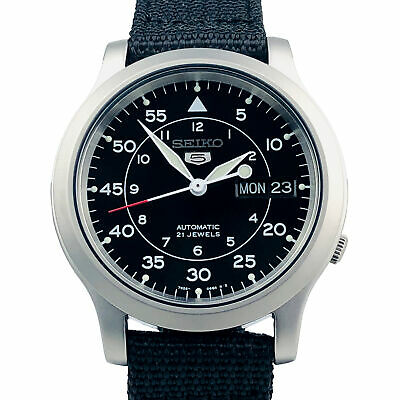 $ CDN201.24 • Buy Seiko 5 Auto Black Dial Military Style Canvas Strap SNK809 Mens Watch
