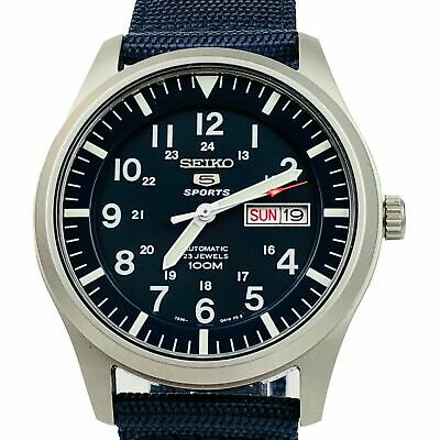 $ CDN274.68 • Buy Seiko 5 Sports Automatic Military Blue Dial Canvas Mens Watch SNZG11K1