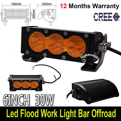 AU65.99 • Buy 6Inch 30W LED Work Light Bar Amber Flood Beam Fog Light Offroad For Jeep SUV ATV