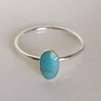 AU12.99 • Buy 925 Sterling Silver Oval Turquoise Ring Band Stackable Ring Women Size 6 7 8 9
