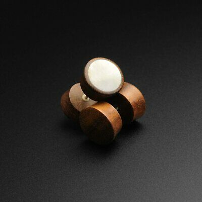 Wooden Ear Plugs Gauge Stretcher Sono Wood Fake Gauge Plug With MOP Inlay | SIBJ • 8.99£