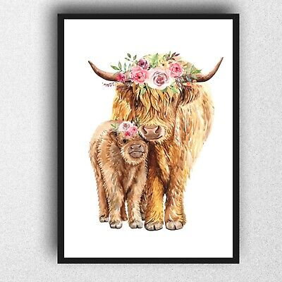 Highland Cow And Baby Print PICTURE WALL ART A4 Gloss Wall Art Mummy • 5.50£