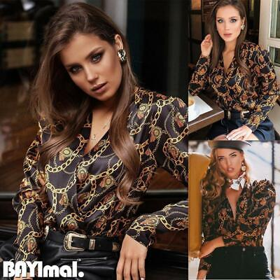 Women Chain Print Long Sleeve Shirt Ladies Casual Office Sexy V Neck Blouse Tops • 8.03£