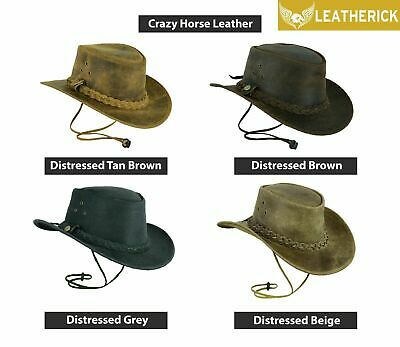 £21.98 • Buy Crazy Horse Distress Cowboy Hat Western Australian Real Leather Outback Bush Hat