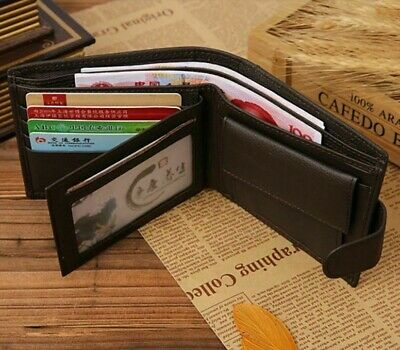 AU15.95 • Buy Mens Wallet Brown Bi Fold With Top Layer Cowhide Leather Card Slots Coin Pocket