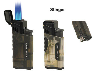 Vertigo Stinger Quadruple Quad Jet Lighter With Punch Puncher - Clear / Charcoal • 12.99£