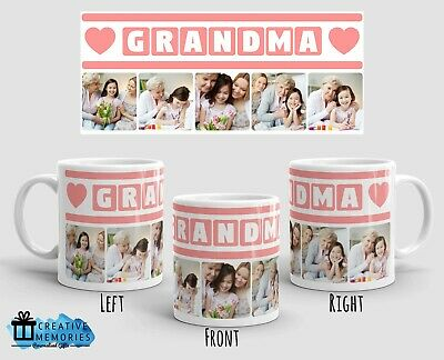 Personalised Mothers Day Mug Cup - Grandma Photo Mug - Grandma Pink Heart Deisgn • 8.45£