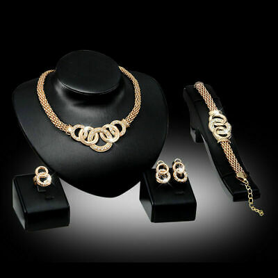 $6.59 • Buy 4PCS Women's Gold Wedding Jewelry Set Indian Necklace Bracelet Earring Ring Sets