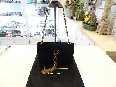 AU1659 • Buy Pre-owned-YSL Saint Laurent Kate Tassel Suede Small Crossbody Chain Bag In Black
