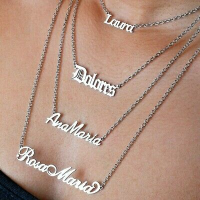 Personalise Nameplate Necklace Your Name Pendant Steel Chain Mothers Day Gift • 9.99£