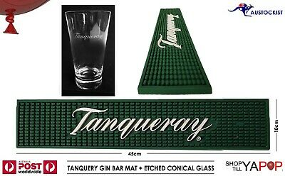 TANQUERAY GIN 3d RUBBER BAR MAT 45x10cm + ETCHED CONICAL GLASS 425ml • 31.05£